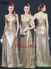 Perfect V Neck Sequins Prom Dresses in Champagne YCPD043FOR