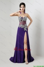 Popular Brush Train Prom Dresses with Beading and High Slit DBEE359FOR