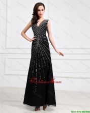 Popular Empire V Neck Beaded Backless Prom Dresses in Black DBEE464FOR