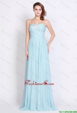 Popular Light Blue Brush Train Prom Dresses with Side Zipper DBEE038FOR