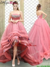 Popular Strapless High Low Beading Prom Dresses YCPD050FOR