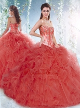 Pretty Brush Train Detachable Quinceanera Dresses with Beading and Ruffles  SJQDDT533002FOR