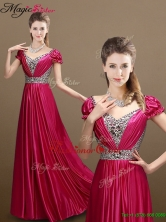 Pretty Empire V Neck Beading Prom Dresses with Short Sleeves YCPD003-1FOR