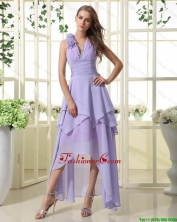 Pretty Empire V Neck Prom Dresses with High Low in Lavender DBEE450FOR