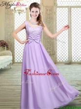 Pretty Scoop Bowknot Lavender Prom Dresses for Fall BMT066EFOR