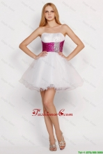 Pretty White Princess Short Prom Dresses with Beading and Belt DBEE418FOR
