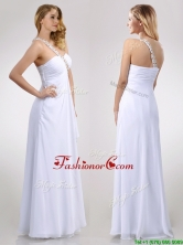 Sexy Empire Chiffon Beaded Side Zipper White Prom Dress with One Shoulder THPD259FOR