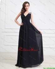 Simple Brush Train V Neck Beaded Prom Dresses in Black DBEE485FOR