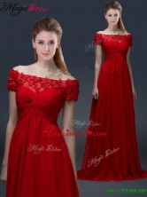 Simple Off the Shoulder Short Sleeves Red Prom Dresses with Appliques YCPD024FOR