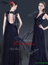 Spring Fashionable V Neck Paillette Prom Dresses in Navy Blue YCPD037FOR