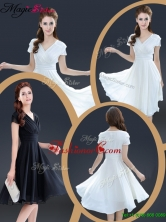 Summer Cheap Knee Length V Neck Prom Dresses with Ruching YCPD021FOR