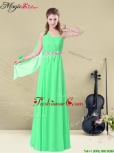 The Most Popular One Shoulder Floor Length Prom Dresses with Ruching and Belt BMT008-12AFOR