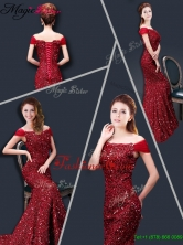 Winter Mermaid Off the Shoulder Sequins Prom Dresses in Wine Red YCPD020FOR