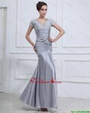 Wonderful Mermaid V Neck Prom Dresses with Beading in Silver DBEE428FOR