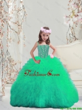 2015 Winter Popular Spaghetti Apple Green Mini Quinceanera Dresses with Beading and Ruffles LGDTA5002-5FOR