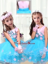 2016 Cute Scoop Short Little Girl Dress with Appliques LTG231FOR
