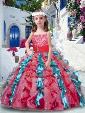 2016 Pretty Ball Gown Spaghetti Straps Mini Quinceanera Dresses with Beading and Ruffles PAG239FOR