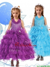 Affordable Halter Top Little Girl Pageant Dress with Beading and Ruffled Layers THLG050FOR