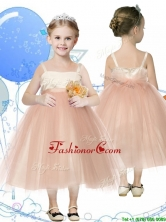 Affordable Spaghetti Straps Hand Made Flowers Little Girl Pageant Dress in Champagne THLG043FOR