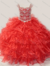 Ball Gown Straps Organza Beaded Bodice Lace Up Little Girl Pageant Dress in Red SWLG013-1FOR