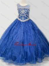 Beautiful Beaded Bodice Open Back Little Girl Pageant Dress in Royal Blue SWLG005-2FOR