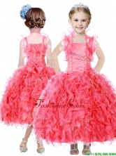 Beautiful Beaded and Ruffled Straps Little Girl Pageant Dress in Coral Red THLG076FOR