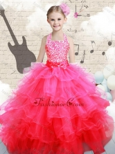 Beautiful Halter Top Hot Pink  Mini Quinceanera Dresses with Beading  FA1GC20MTFOR