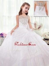 Beautiful Scoop White Little Girl Pageant Dresses with Beading PAG218FOR