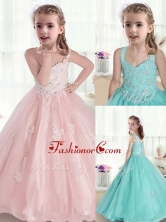 Beautiful Straps Little Girl Pageant Dresses with Appliques and Beading PAG217FOR