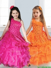 Best Asymmetrical Neckline Little Girl Pageant Dress with Appliques and Ruffled Layers THLG046FOR