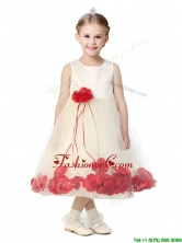 Best Scoop Flower Girl Dress with Red Hand Made Flowers THLG095FOR