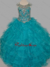 Cheap Really Puffy V-neck Teal Little Girl Pageant Dress with Rhinestones and Straps SWLG014-1FOR