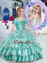 Classical Ball Gown Apple Green Mini Quinceanera Dresses with Ruffled Layers PAG290FOR