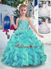 Customized Straps Ball Gown Mini Quinceanera Dresses with Ruffles PAG266FOR