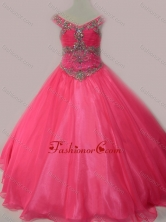 Cute Beaded Bodice Zipper Up Little Girl Pageant Dress in Hot Pink SWLG006-1FOR