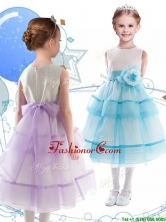 Discount Scoop Organza Flower Girl Dress with Hand Made Flowers and Ruffled Layers THLG091FOR