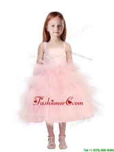 Discount Spaghetti Straps Beading and Ruffled Layers Mini Quinceanera Dresses in Pink THLG036-1FOR