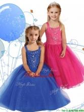 Elegant Straps Beading Little Girl Pageant Dress in Ankle Length THLG057FOR