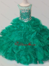 Exquisite Beaded and Ruffled Organza Little Girl Pageant Dress in Green SWLG004-1FOR