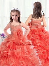 Fashionable Straps Little Girl Pageant Dresses with Beading and Ruffles PAG226FOR