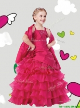 Gorgeous Straps Little Girl Pageant Dress with Ruffled Layers and Hand Made Flowers THLG063FOR