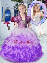 Gorgeous Straps Mini Quinceanera Dresses with Ruffled Layers and Beading PAG259FOR