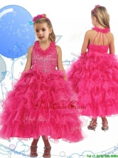 Latest Halter Top Beading and Ruffled Layers Little Girl Pageant Dress in Hot Pink THLG051FOR