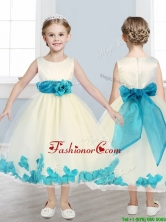 Lovely Scoop Flower Girl Dress with Teal Hand Made Flowers THLG093-2FOR