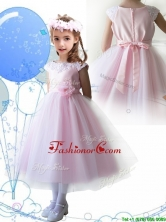 Lovely Scoop Hand Made Flowers and Appliques Flower Girl Dress in Baby Pink THLG090FOR