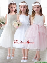 Lovely Scoop Hand Made Flowers and Ruffled Layers Mini Quinceanera Dresses in Tea-length THLG018FOR