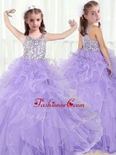 Lovely Scoop Lavender Little Girl Pageant Dresses with Beading and Ruffles  PAG214FOR