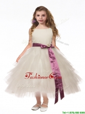 Lovely Scoop White Mini Quinceanera Dresses with Bowknot and Ruffled Layers THLG031FOR