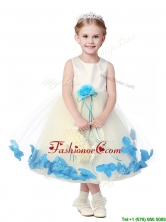 Lovely Tea Length Scoop Flower Girl Dress with Hand Made Flowers and Appliques THLG095-3FOR