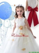Luxurious Scoop White Flower Girl Dress with Sashes and Hand Made Flowers THLG089FOR